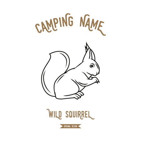 illustrazione vettoriale Squirrel. animali europei sagome d'epoca.