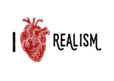 Vendemmia, inciso cuore umano. Illustartion vettore. Amo Realismo slogan.