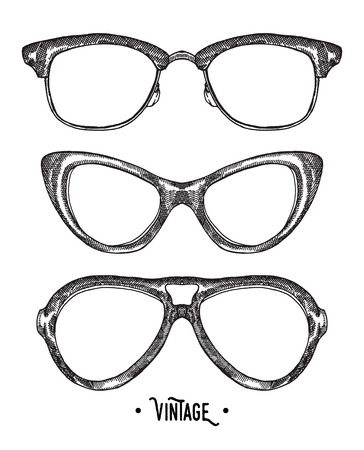 sun glasses: Hand drawn hipster glasses. Vintage vector illustration. Sketch style.