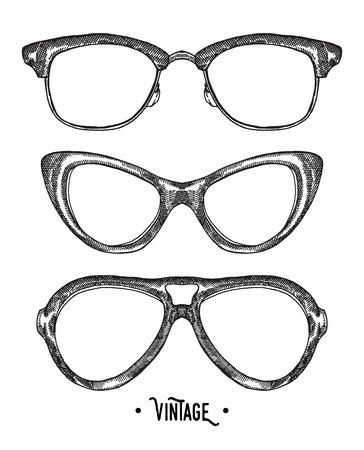green glasses: Hand drawn hipster glasses. Vintage vector illustration. Sketch style.