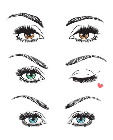 girls youth: Hand drawn womens eyes vintage. Vector illustration. Fashion design Illustration