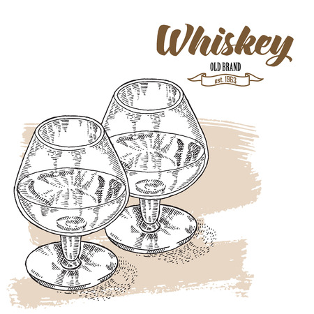 bourbon whisky: Whiskey drink. Hand drawn two glasses of whiskey. Engraving style. Vector illustration