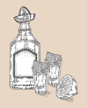 peyote: Bottle of tequila drink. Hand drawn two glasses of tequila. Engraving style. Vector illustration Illustration