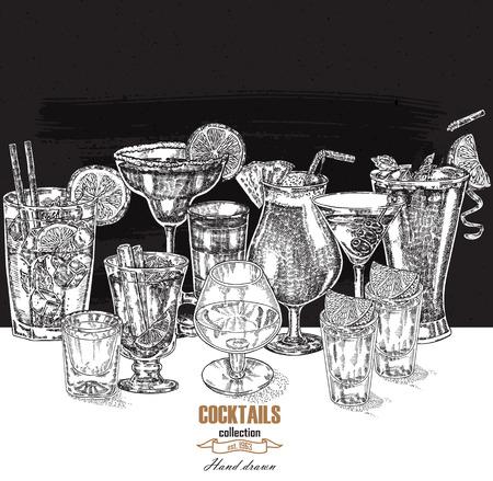 alcoholic: Hand drawn drinks illustration. Alcoholic cocktails set