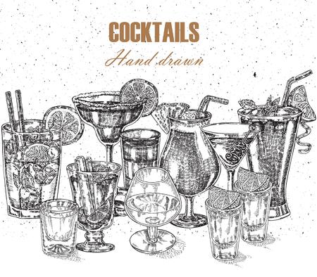 Alcoholic cocktails set. Vector illustration