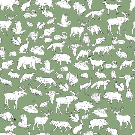 Dibujado a mano animales del bosque. Fondo inconsútil del vector.