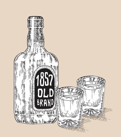 bourbon whisky: Bottle of whiskey drink. Hand drawn two glasses of whiskey. Engraving style. Vector illustration Illustration
