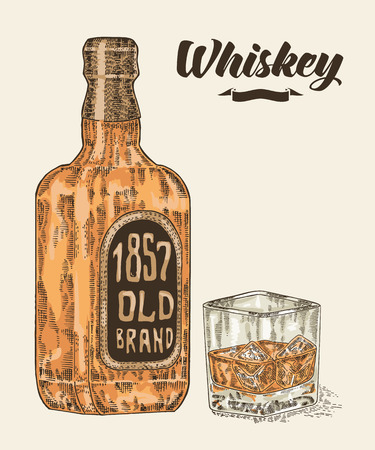 bourbon whisky: Whiskey in bottle and glass. Hand drawn whiskey drink vector illustration. Sketch retro style