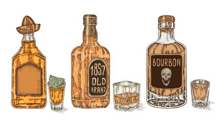 Trois bouteilles d'alcool fort. Hand drawn whisky et tequila. Banque d'images - 59132706