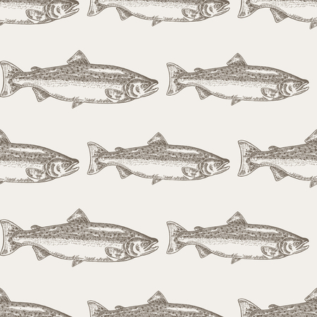 brown trout: Hand drawn salmon fish seamless background. Vector illustration seafood Illustration