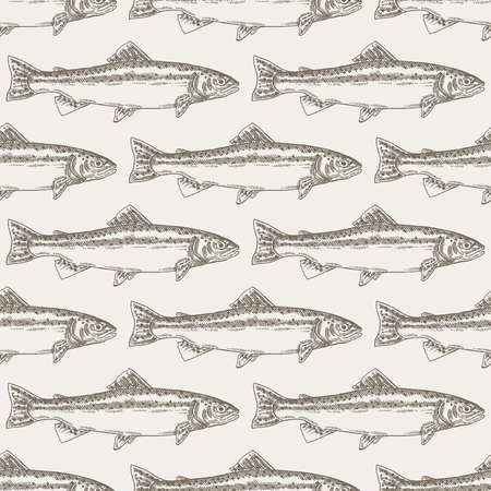 brown trout: Hand drawn trout fish seamless background. Vector illustration seafood Illustration