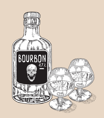 bourbon: Bottle of whiskey drink. Hand drawn two glasses of whiskey. Bourbon vector illustration