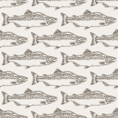 Hand drawn salmon fish seamless background. Vector illustration seafood Illustration