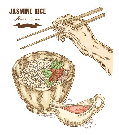 thai style: Thai jasmine rice in a bowl. Hand with chopsticks. Vector illustration in sketch style