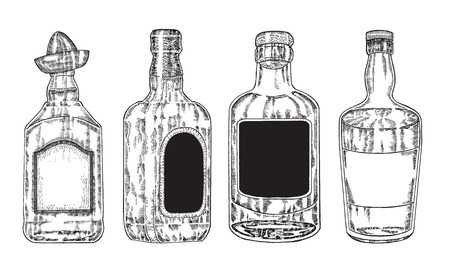 peyote: Vector bottles with strong alcohol. Hand drawn whiskey and tequila in bottle. Sketch style