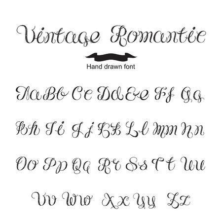 Hand written calligraphy vintage romantic font.