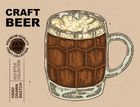 cereal bar: Hand drawn glass with beer. Alcohol drink sketch vector illustration Illustration