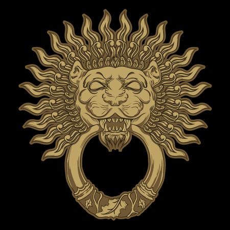 doorknocker: Golde lion head on black background. Vector illustration