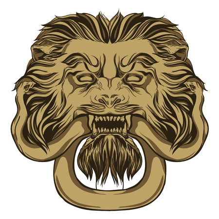 Gold lion holding a snake. Door knocker. Hand drawn vector illustration