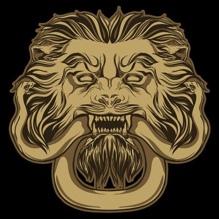 knocker: Gold lion holding a snake. Door knocker. Hand drawn vector illustration