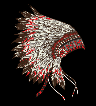 indian weapons: Native american indian chief headdress. Vector illustration