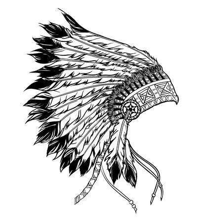 ネイティブ アメリカン インディアン チーフ ヘッドドレス。黒と白のスタイルのベクトル図