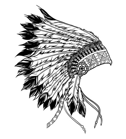 indian chief headdress: Native american indian chief headdress. Vector illustration in black and white style