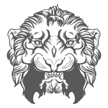 Vintage lion head vector illustration