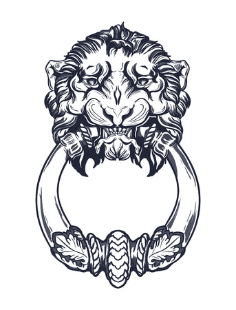 doorknocker: Vintage lion head vector illustration