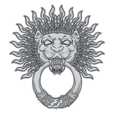 Silver lion head in vintage style. Vector illustration