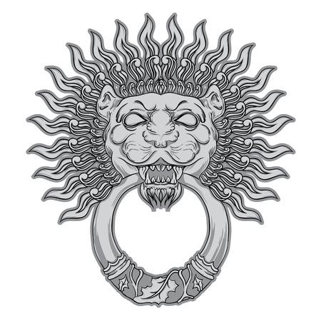doorknocker: Silver lion head in vintage style. Vector illustration