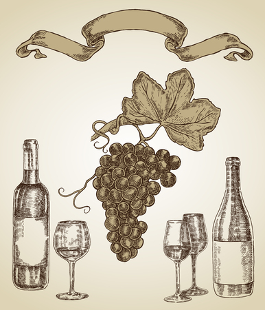 Hand drawn wine set. Grape, bottle of wine and wine glass on sketch style. Vector illustration