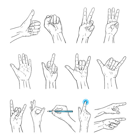 gesture set: Vector hands sign gesture set. Illustration of human hands in black line art style isolated Illustration