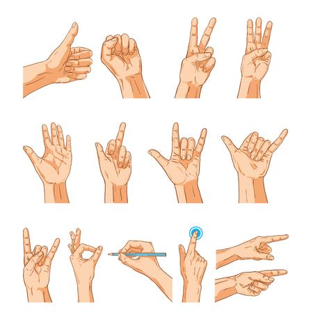 Manos del vector set signo gesto. Colección de la mano del hombre aislado en blanco