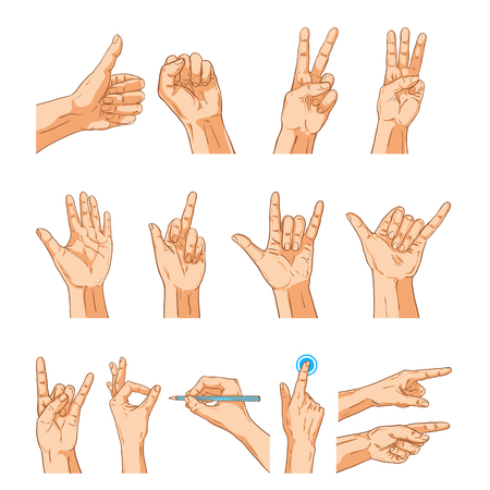 Vector hands sign gesture set. Collection of human hands isolated on white Ilustração