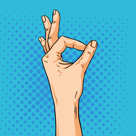 Vector hand shoving ok gesture. Illustration in pop art comic style Illustration