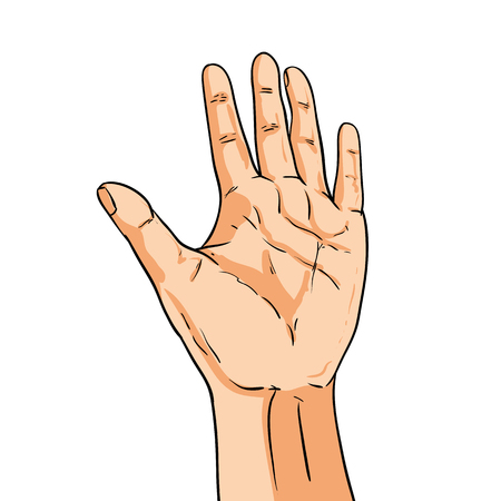 hi five: Vector hand. Fingers showing five. Illustration in comic style isolated on white Illustration