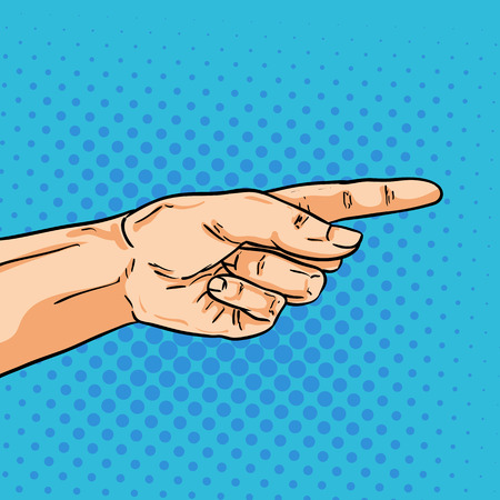 one finger: Vector pointing hand. One finger showing the way. Illustration in pop art comic style