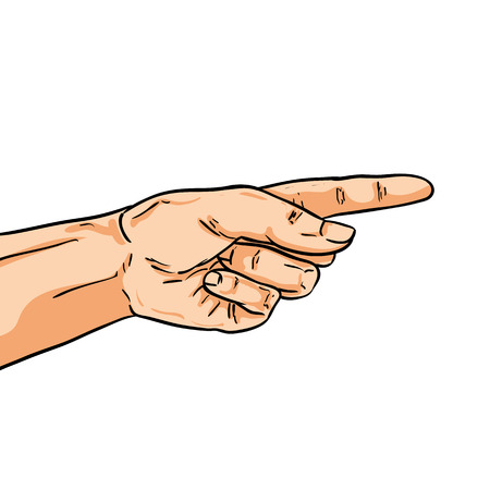 one finger: Vector pointing hand. One finger showing the way. Illustration in comic style isolated on white