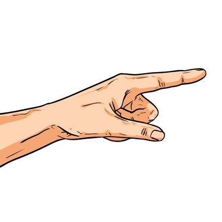 Vector mano que señala. Un dedo mostrando el camino. Ilustración en estilo cómico aislado en blanco