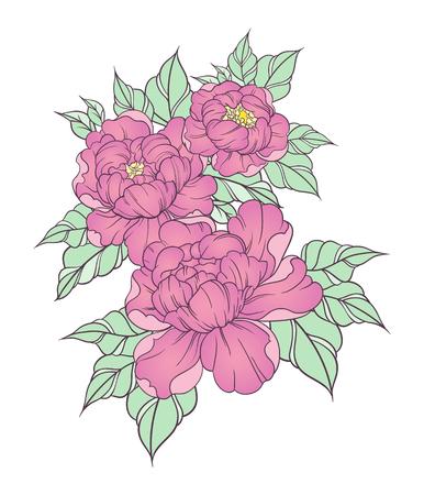 Hand getrokken pioenen in Japanse tattoo traditionele stijl. Bloemen samenstelling in vintage boho-stijl. vector illustratie