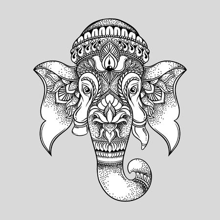 Hand getrokken olifant hoofd tribal stijl. Hindoe Lord Ganesha vector illustratie. T-shirt design