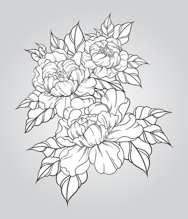 peony black: Hand drawn peonies in japanese tattoo traditional style. Floral composition vintage. Vector illustration