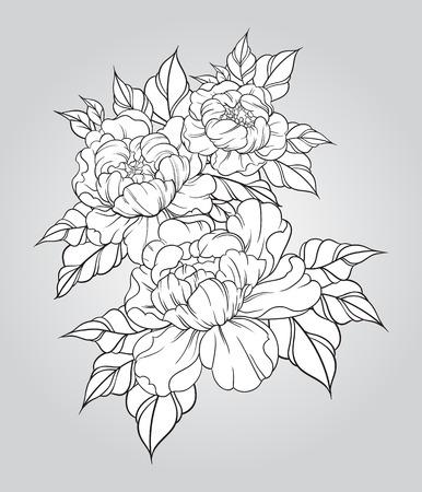 Hand getrokken pioenen in Japanse tattoo traditionele stijl. Bloemen samenstelling vintage. vector illustratie