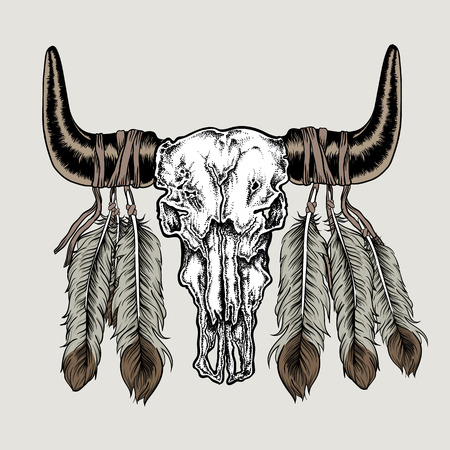 Hand drawn dot work tattoo buffalo skull with feathers. Native american art in vintage boho style. Vector illustration isolated Ilustracja