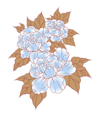 Hand drawn peonies in japanese tattoo traditional style. Floral composition vintage. Vector illustration