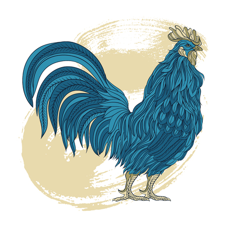 Hand drawn dark blue rooster in line art style. Vector illustration. Symbol of chinese new year. Illustration