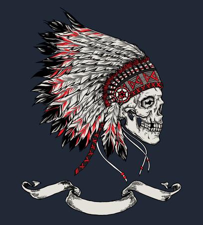 iroquois: Indian skull hand drawn vector illustration