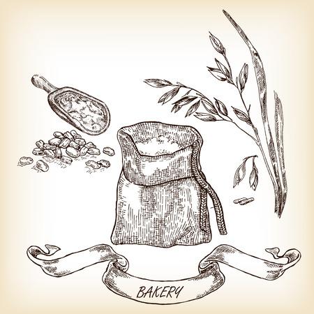 Hand getrokken zak, graan, maaltijd, haver. vector illustratie
