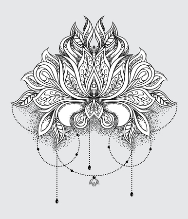 Beautiful hand drawn ornamental lotus flower. Ethnic patterned mandala in line art style. Vector illustration